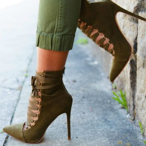 Olive Green Ankle Booties Suede Stiletto Heels Lace up Boots