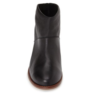 Black Vintage Boots Chunky Heel Round Toe Ankle Boots for Women