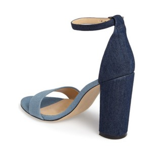 Blue and Navy Jean Heels Ankle Strap Denim Chunky Heel Sandals by FSJ