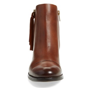 Women's Brown Tassels Chunky Heels Vintage Boots Zipper Ankle Boots