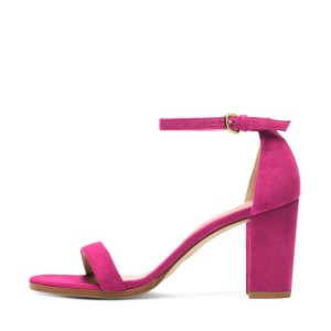 Hot Pink Block Heel Sandals Ankle Strap Heels