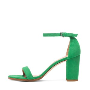 Women's Green Suede Open Toe Chunky Heels Ankle Strap Sandals
