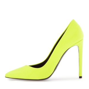 On Sale Neon Yellow Vegan Shoes Pointy Toe Stiletto Heel Pumps