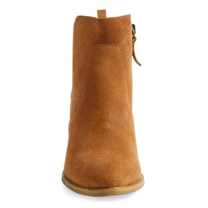 Tan Vintage Boots Block Heels Fall Suede Booties for Female