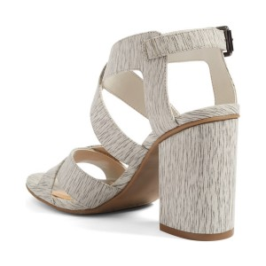 Women's Grey Wood Grain Open Toe Buckle Chunky Heel Sandals
