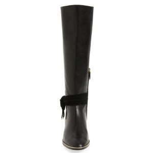 FSJ Black Flat Boots Pointy Toe Knee Boots with Tie