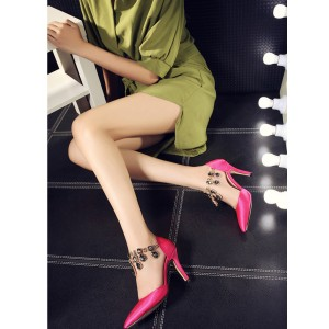 Hot Pink Satin Evening Shoes Jeweled Closed Toe Double D'orsay Pumps