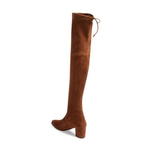 Brown Long Boots Suede Chunky Heel Thigh-high Boots