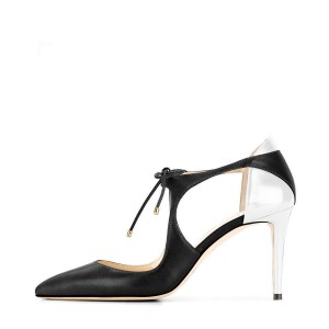 Black and Silver Office Heels Pointy Toe Lace up Stiletto Heel Pumps