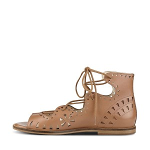 Tan Flat Sandals Open Toe Laser Cut Lace up Sandals
