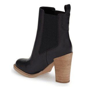 Black Vegan Leather Women's Dress Boots Chunky Heel Chelsea Boots
