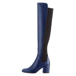 Navy Square Toe Boots Block Heel Over-the-Knee Long Boots