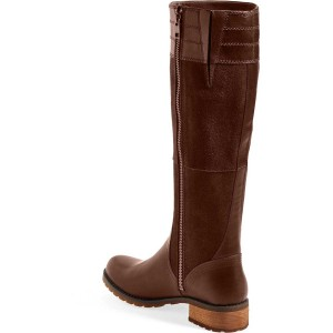 Brown Riding Boots Side Zipper Round Toe Low Heel Knee Boots