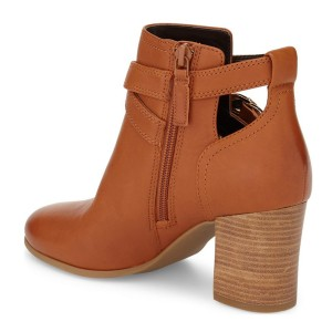 Tan Vegan Boots Round Toe Block Heel Work Ankle Boots US Size 3-15
