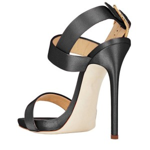 Black Satin Office Sandals Slingback Heels Sandals for Work