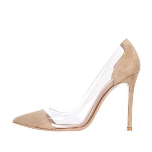 Clear Heels Suede Pointy Toe Stiletto Heels Pumps