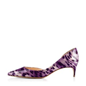 Women's Viola Purple Leopard Print Heels Kitten Heel Pumps