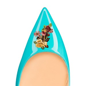 Women's Turquoise Floral Office Heels Pointed Toe Stiletto Heels Pumps