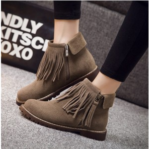 Brown Vintage Boots Round Toe Fringe Suede Ankle Boots