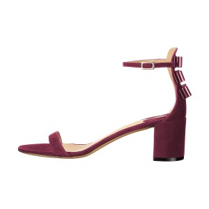 Plum Suede Ankle Strap Sandals Open Toe Chunky Heels Office Sandals