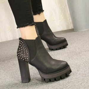 Black Chelsea Boots Studded Platform High Heel Shoes