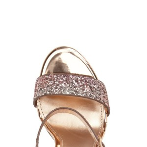 Pink Glitter Gradient Color Dazzling Chunky Heels Sandals