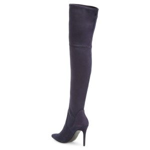 Dark Purple Long Boots Pointy Toe Stiletto Heel Thigh-high Boots