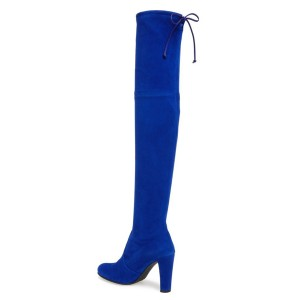 Cobalt Blue Shoes Chunky Heel Suede Thigh High Boots by FSJ
