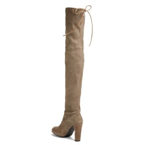 Khaki Long Boots Suede Thigh-high Boots for Women