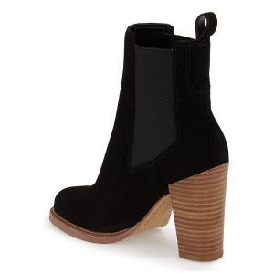 Black Chelsea Boots Wooden Chunky Heel Suede Ankle Boots for Work