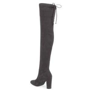 Dark Grey Suede Long Boots Chunky Heel Thigh-high Boots for Women