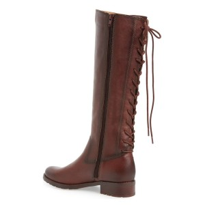 Brown Riding Boots Round Toe Back Lace up Vintage Knee Boots