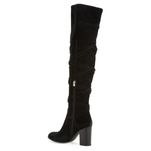 Black Chunky Heel Boots Suede Women's Over-the-knee Boots by FSJ