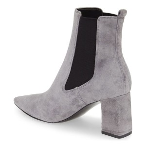 Grey Chelsea Boots Suede Chunky Heels Pointy Toe Ankle Booties