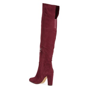 Maroon Suede Chunky Heel Boots Round Toe Over-the-knee Long Boots