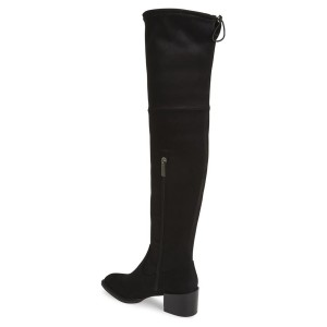Black Long Boots Chunky Heel Suede Over-the-Knee Boots