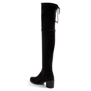 Black Long Boots Suede Chunky Heel Women's Thigh-high Boots