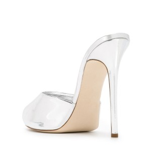 Silver Peep Toe Heels Mirror Leather Mules Stiletto Heels Sandals