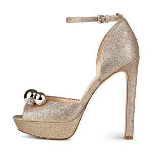 Golden Sparkly Heels Rhinestone Glitter Shoes Ankle Strap Sandals