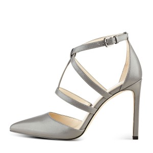 FSJ Grey Vegan Shoes Stiletto Heel Pointy Toe Dressy Office Heels