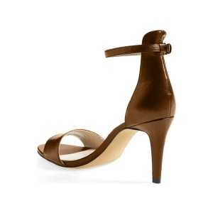 Dark Chocolate Ankle Strap Sandals Open Toe Office Heels