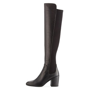 Black Square Toe Boots Block Heel Over-the-Knee Long Boots