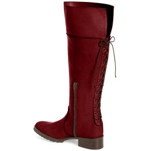 Red Fashion Boots Round Toe Flat Knee-high Riding Boots
