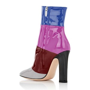 Multicolor Short Boots Patent Leather Chunky Heel Ankle Booties