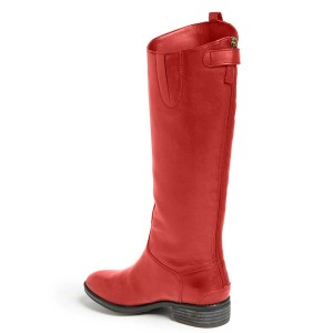 Red Shiny Vegan Boots Fashion Comfy Flat Boots with Side Pull Tab