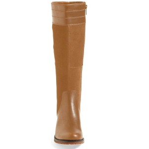 Tan Riding Boots Side Zipper Round Toe Low Heel Knee Boots