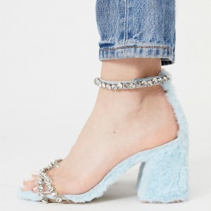Light Blue Fur Heels Rhinestone Ankle Strap Block Heel Sandals