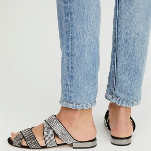 Silver Rhinestone Cross Over Comfortable Flats