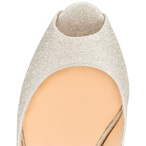 Champagne Sparkly Heels Peep Toe Cross-over Strap Sandals