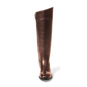 Brown Riding Boots Round Toe Shiny Vegan Leather Flat Knee Boots